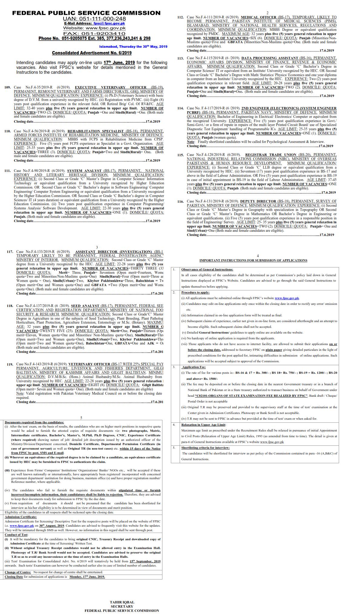 FIA Jobs 2019 for Assistant Directors (Investigation) Federal