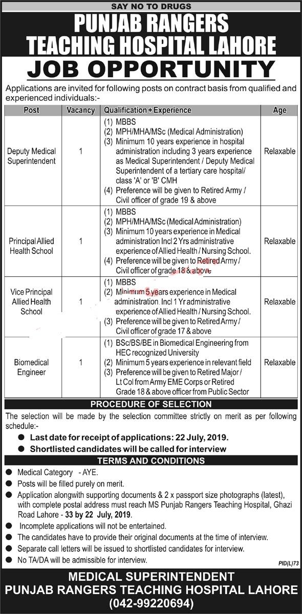 Punjab Rangers Teaching Hospital Lahore Jobs 2019 Vacancies