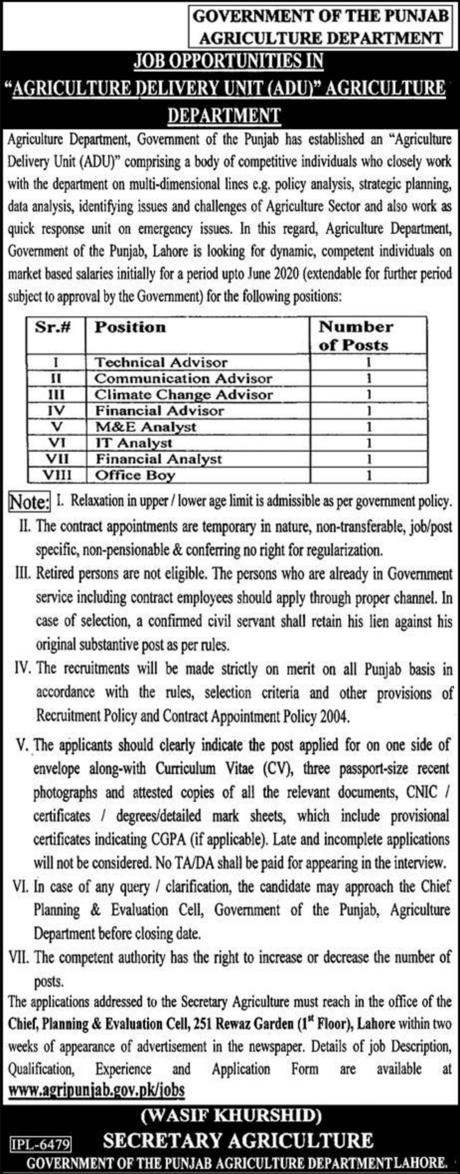 Government of the Punjab Agriculture Department Jobs 2019 Vacancies