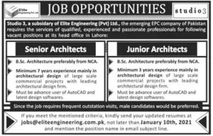 12131 Studio3 Jobs 2021 for Senior Junior Architects Elite Engineering (Pvt) Ltd Lahore Latest