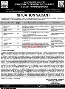 14071 Government of Khyber Pakhtunkhwa – Fisheries Department Jobs March 2021 for the Positions of Office Assistant, Fisheries Supervisor, Head Fisheries Watcher, Latest 2021