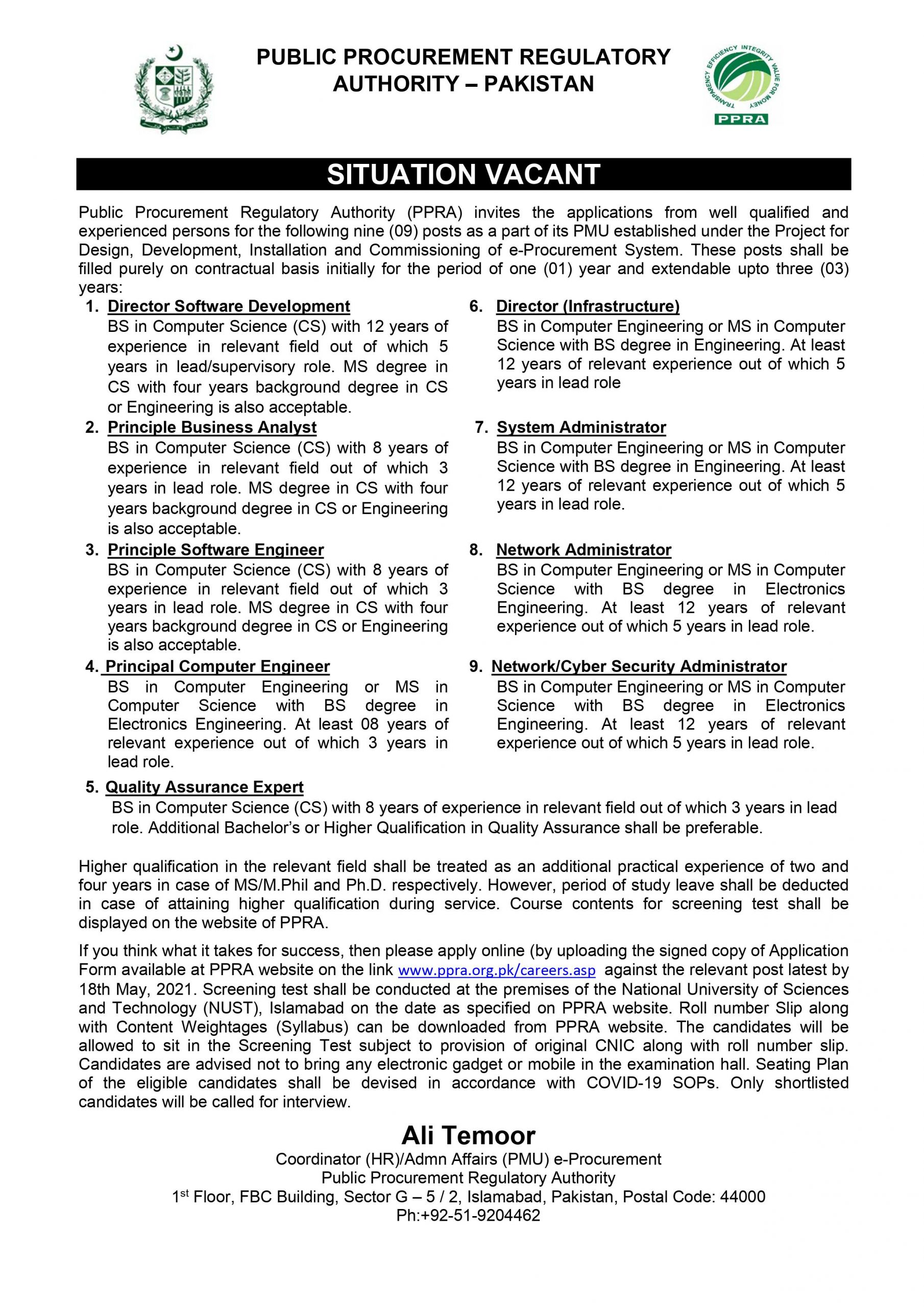 The current business extends are from PPRA Jobs 2021 Public Procurement Regulatory Authority Jobs Application Form Download Public Procurement Regulatory Authority | ppra.org.pk at this page of our website.