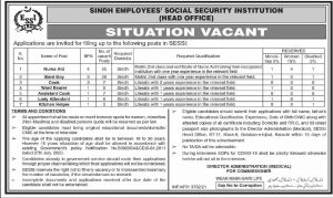 10439 SESSI Jobs October 2021 Nurse Aid, Ward Boys, Cooks, Assistant Cooks & Others Sindh Employees Social Security Institution Latest
