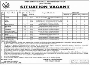 10442 Sindh Employees Social Security Institution SESSI Jobs 2021 for Naib Qasid, Sanitary Workers, Chowkidar, Helpers & Others Latest